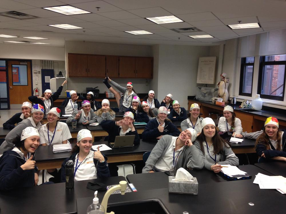 A brain cap picture of Mrs. Nguyen's Anatomy class