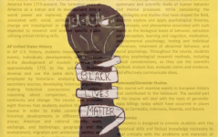 The MSDA history curriculum superimposed on top of Rachel Umansky-Castro's painting of a fist symbolizing Black Lives Matter.